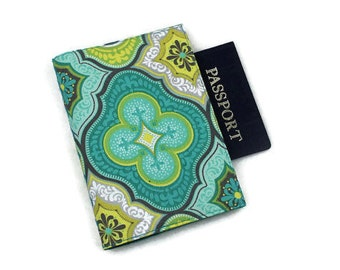 Passport Cover with Velcro Closure - Aqua Blue and Yellow Fabric Tile Designs Venetian or Moroccan
