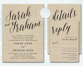 Printable Wedding Invitation, Rustic Kraft Wedding Invitation, Wedding Invite, Script Kraft Wedding Invitation Printable