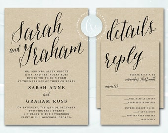 Printable Wedding Invitation, Rustic Kraft Wedding Invitation, Wedding Invite, Script Kraft Wedding Invitation Printable