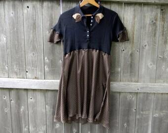 Upcycled Women Short Sleeve Top Tunic Loose Women Top Wearable Art Bohemian Clothing Women Dress MEDIUM Black/ Brown Polka Dot