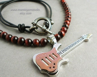 Electric Guitar Musician's Necklace for Men, Red Tiger Eye Gemstone, Black Leather Cord, Handcrafted Men's Jewelry, for Him, Guys