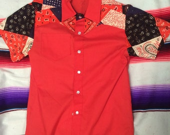 Size 8 kids red quilted bandana print fabric short sleeve western shirt