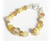 Yellow Bracelet - Glass Bead Bracelet - Bracelet for Women - Wedding Bracelet - Womens Bracelet - Mothers Day Gift - Gift Ideas for Her