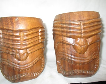 Face Totem Monkey Pod Wood Mugs /Steins Hand  Carved Philippines