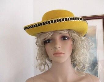 Womens Top Hat Golden Mustard Hat- Trimmed in Black & Gold Feathers 100% Wool Hat WLF Women's Vintage Hat