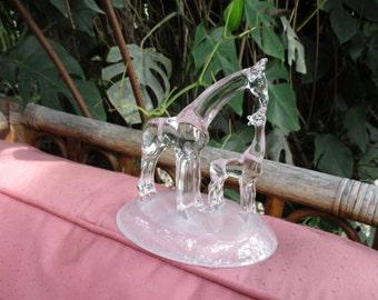 Glass Giraffe  Mom & Baby Figurine -  Crystal  Glass Giraffe Figurine - Standing Giraffe