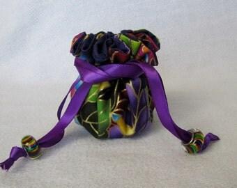 Jewelry Bag - Mini Size - Drawstring Pouch - Fabric Travel Tote - KALEIDOSCOPE