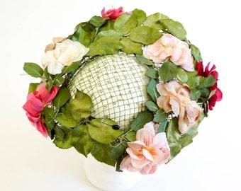 Vintage 1960s Hat / 60s Designer Norman Durand Garden Party Cinch Hat VGC / Wide Brim, Open Crown Netting, Pink Green Silk Flowers