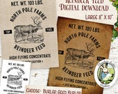 Reindeer Food Feed Sack Feedsack Vintage Style Digital Download Printable Sign Label Tag Fabric Transfer Clip Art Burlap Image Graphics