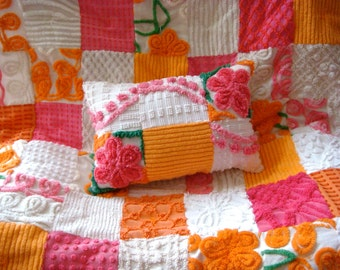 "CUSTOM ORDER QUILT Sample - ""Sizzling Cara Cara "" Vintage Cotton Chenille Patchwork  Quilt"