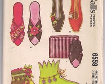 Vtg 60s Slippers Pattern McCalls 6559 Slippers and Bag, Slip Ons, Slipper Boots, House Shoes, 1962 Vintage Pattern, Vintage Sewing 4.5 - 8.5