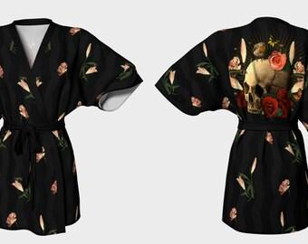 Memento Mori (Skull & Roses) - Kimono Robe - Death's Amore Clothing