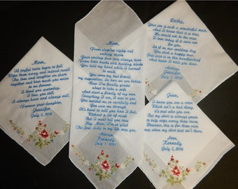 4 Wedding  handkerchiefs - FREE SHIPPING - 1 with your poem and 3 under 40 words