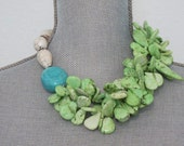 Asymmetric Green Magnesite Teardrops with White and Turquoise Magnesite Necklace and Earrings
