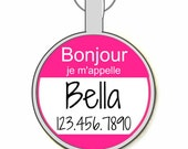 "The Original  Bonjour ""Hello My Name Is"" Personalized Dog ID Pet Tag Custom Pet Tag You Choose Tag Size & Colors -As Seen In Moder"