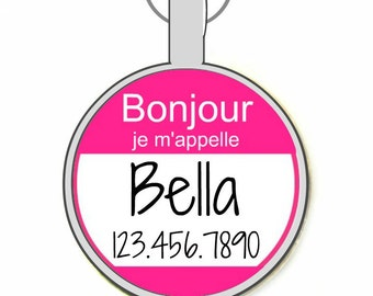 """The Original  Bonjour """"Hello My Name Is"""" Personalized Dog ID Pet Tag Custom Pet Tag You Choose Tag Size & Colors -As Seen In Moder"""