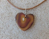 Boulder opal heart pendant necklace - earthy heart necklace handmade in Australia - natural jewellery in earth tones