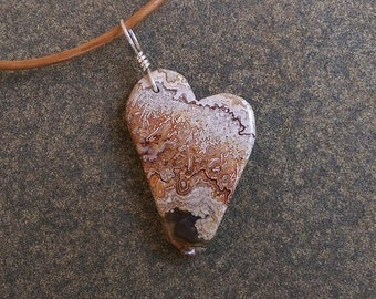 Lace Agate heart pendant on leather - a unique natural stone jewelry - asymmetrical heart jewelry
