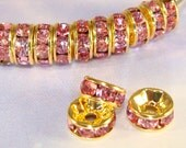 36 Pink Rhinestone Spacer Beads 7mm GOLD Discs (47151) Rondelle Bulk Jewelry Supplies Findings for Big Hoop Earrings Bracelets Necklace