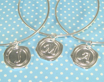 3 Silver Bangle Bracelets with Wax Seal INITIAL Charms YOU CHOOSE Letters - Expandable Bracelet Bridesmaid Mother's Day Valentine's Day Bulk