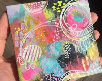 Bounce - Mini Wonderland Series Original Painting - Mini Canvas - Acrylic Painting - Miniature Canvas Painting - Whimsical Painting
