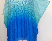 Coco and Juan, Lagenlook, Womens Plus Size Top. Ombre Lace Poncho, Tunic Top One Size Fits Sizes 1X, 2X, 3X