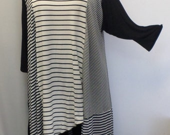 Plus Size Top, Asymmetric Tunic Top, Women Tunic, Coco and Juan, Multi Stripe #2 Knit Size 2 (fits 3X,4X)  Bust 60 inches