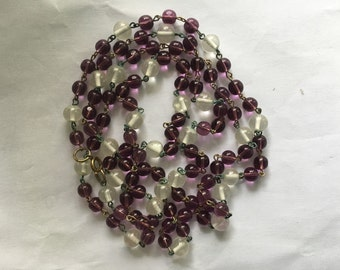 Vintage Amethyst & Clear Glass Long Bead Necklace
