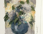 Original oil painting on paper small format art, sfa, sketch, floral art,hydrangeas, blue, grey,still life, affordable art, j beaudet day 2