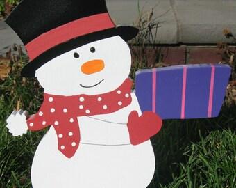 Snowman Handmade Wood Outdoor Christmas Decoration Yard Folk Art