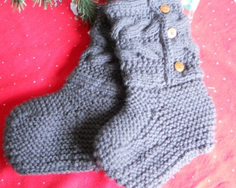 Boot Slipper done in Charcoal Grey for Women or Teens