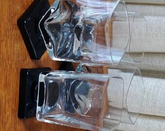 Vintage Stemware Glasses Di Saronno Cristal D'Arques Square Pedestal Footed Base Black Clear Set of Four