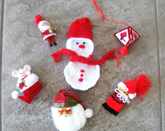 Vintage Christmas Ornaments Yarn and Cloth Variety Assortment Red Green Purple Set of Six