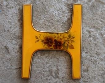 Vintage Paperweight Bucklers Enamel Letter H Floral Design Cast Metal Gold Purple Pansies