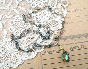 fall jewel assemblage necklace small pendant vitrail crystal upcycle