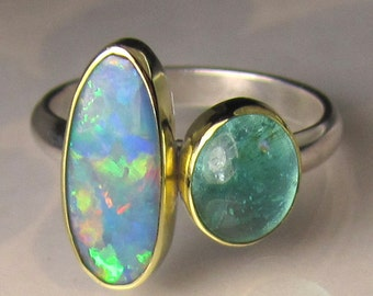 Boulder Opal and Apatite Ring, Apatite Ring, Opal Ring, Australian Opal Ring, 18k Gold and Sterling Silver