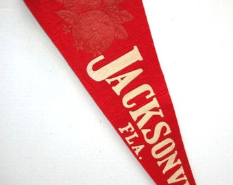 Large Vintage Pennant Jacksonville Florida w/ Oranges Souvenir Felt Flag, Tourist Trip,  Family Vacation, Red + White, Upcycle Craft Suppy