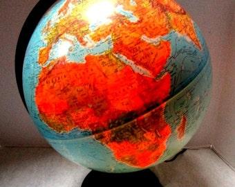 Vintage World Globe, Illuminated Scan Globe A/S Denmark 1987 Karl Harig Electric Light Up Education, School Geography, Repurpose Night Light