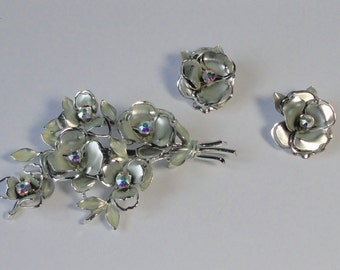 CORO Silver tone Flowers with AB Rhinestones Demi Parure Brooch and Earrings