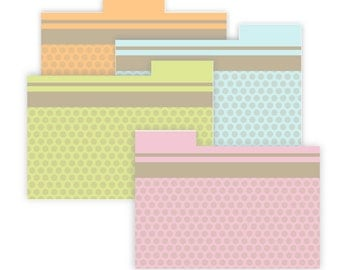 Dots Recipe Card Dividers with text fields 4x6 Printable No 841