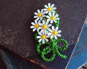Vintage Metal Flower Daisy Bouquet Brooch Pin Painted Enamel Pin 60s Costume Jewelry Enameled Jewelry Mod Modernist