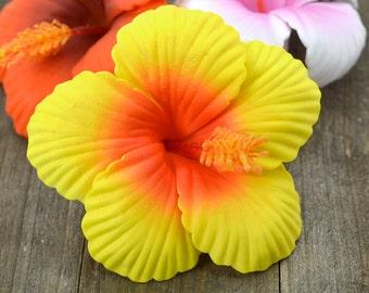 Hibiscus Hair Clip, 2 3/4 Inch,  Hair  Flower, Beach Wedding, Hibiscus, Foam Flower