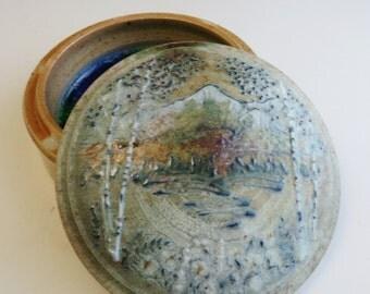 Mountains & Birch Tree Landscape Salt Fired Gem Jar