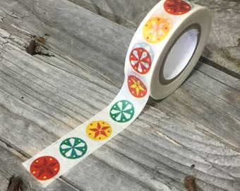 Washi Tape - 15mm - Red, Yellow, Green Star Patterns on White - Deco Paper Tape No. 609