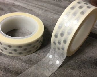 Washi Tape - 15mm- Silver Dots on White -Deco Paper Tape No. 743