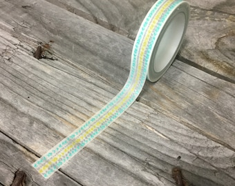 Washi Tape - 10mm - Green Blue Grey Arrows on White - Deco Paper Tape No. 1137