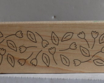 Dotted Flowers and Leaves Border Rubber Stamp  planners Bible journaling