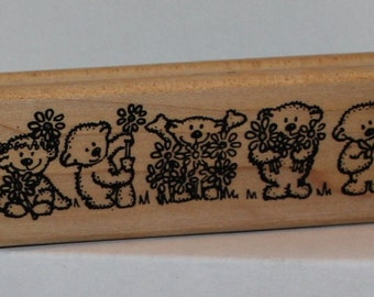 Border of Bears teddies playing in the Flowers spring Rubber Stamp