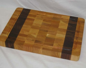 SALE! Cutting Board End-grain Light Color with 2 Walnut Stripes Medium Size