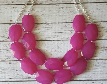 Fuchsia Chunky Statement Bib Necklace...Purchase 3 or more get 10% off